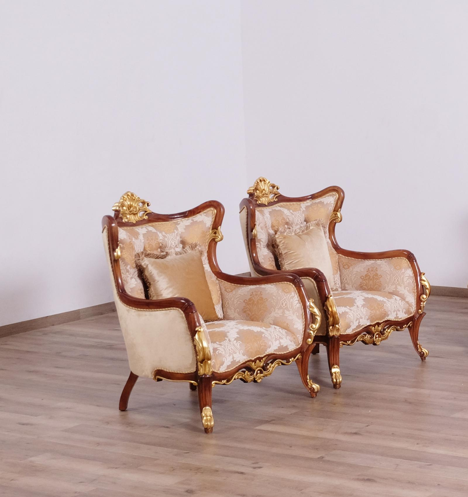 Classic  Traditional Gold  Walnut  Antique Wood  Solid Hardwood and Fabric Arm Chair Set EUROPEAN FURNITURE 47078-C-Set-2