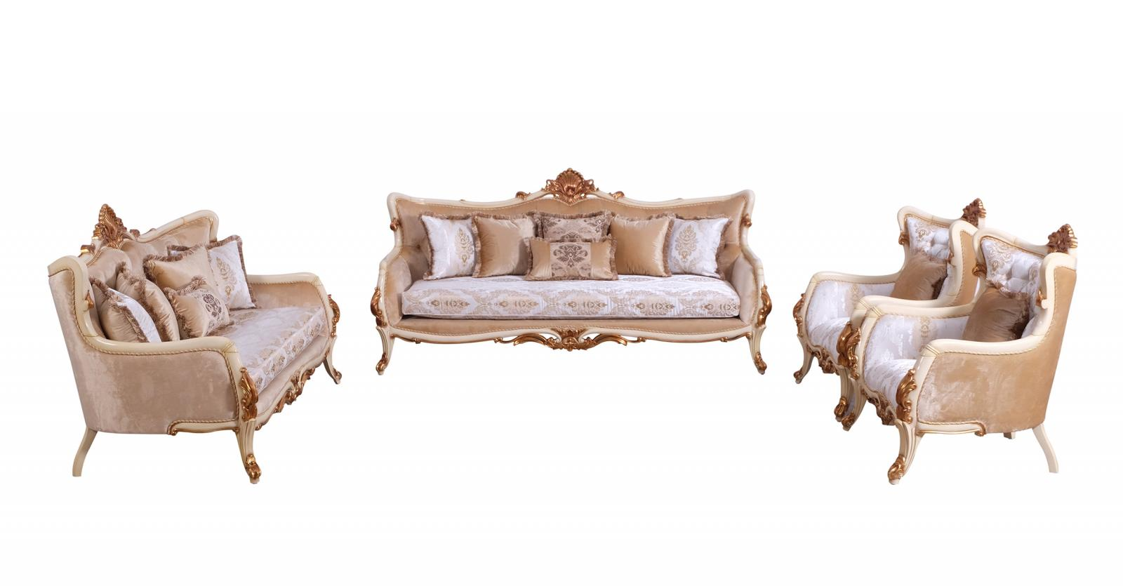 Classic  Traditional Gold  Antique  Pearl Wood  Solid Hardwood and Fabric Sofa Set EUROPEAN FURNITURE 47072-S-Set-4