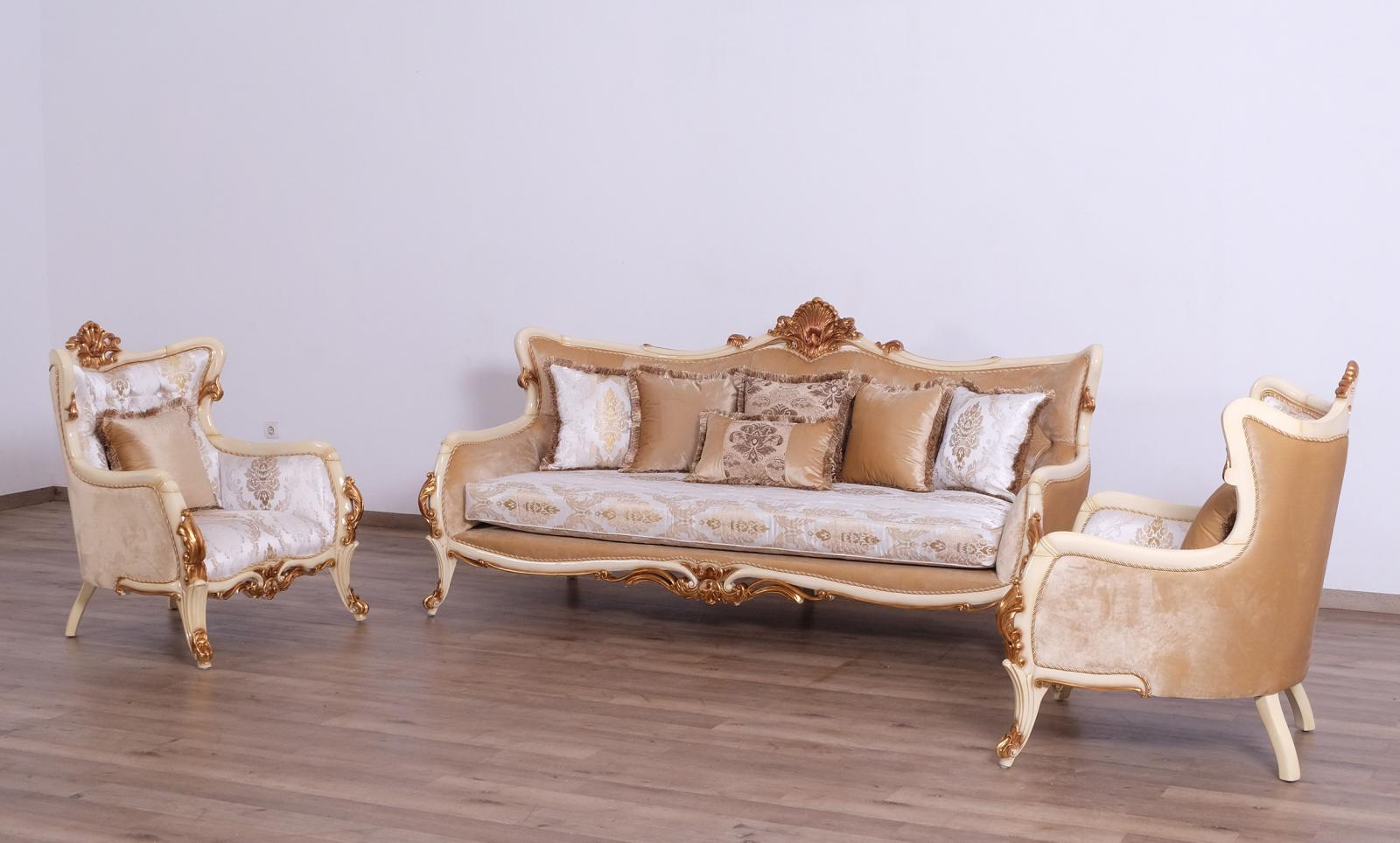 Classic  Traditional Gold  Antique  Pearl Wood  Solid Hardwood and Fabric Sofa Set EUROPEAN FURNITURE 47072-S-Set-3