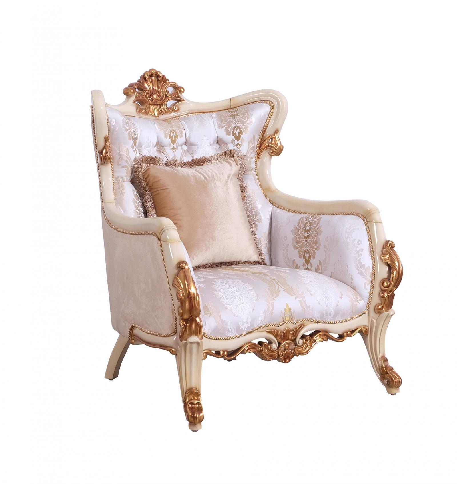 Classic  Traditional Gold  Antique  Pearl Wood  Solid Hardwood and Fabric Arm Chair EUROPEAN FURNITURE  47072-C