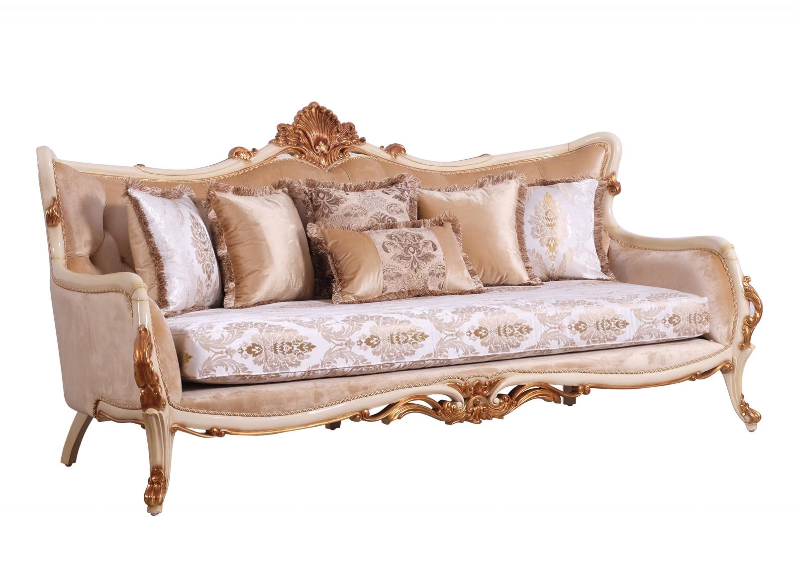 Classic  Traditional Gold  Antique  Pearl Wood  Solid Hardwood and Fabric Sofa EUROPEAN FURNITURE 47072-S