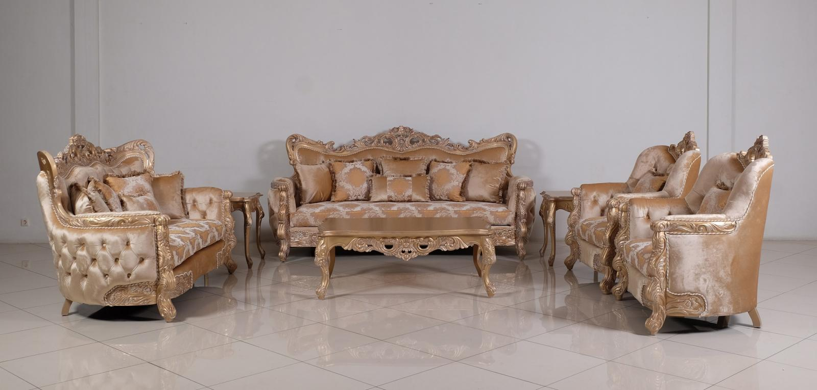 Classic  Traditional Champagne  Cooper Wood  Solid Hardwood and Fabric Sofa Set EUROPEAN FURNITURE 32006-S-Set-4