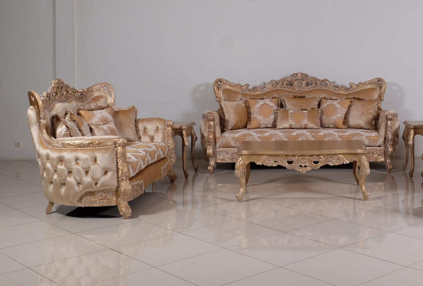 Classic  Traditional Champagne  Cooper Wood  Solid Hardwood and Fabric Sofa Set EUROPEAN FURNITURE 32006-S-Set-2