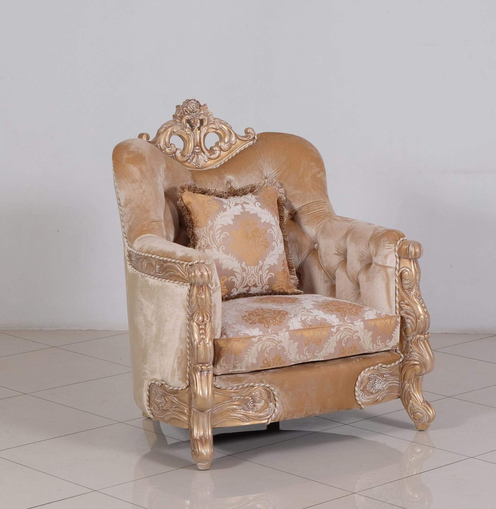 Classic  Traditional Champagne  Cooper Wood  Solid Hardwood and Fabric Arm Chair EUROPEAN FURNITURE 32006-C