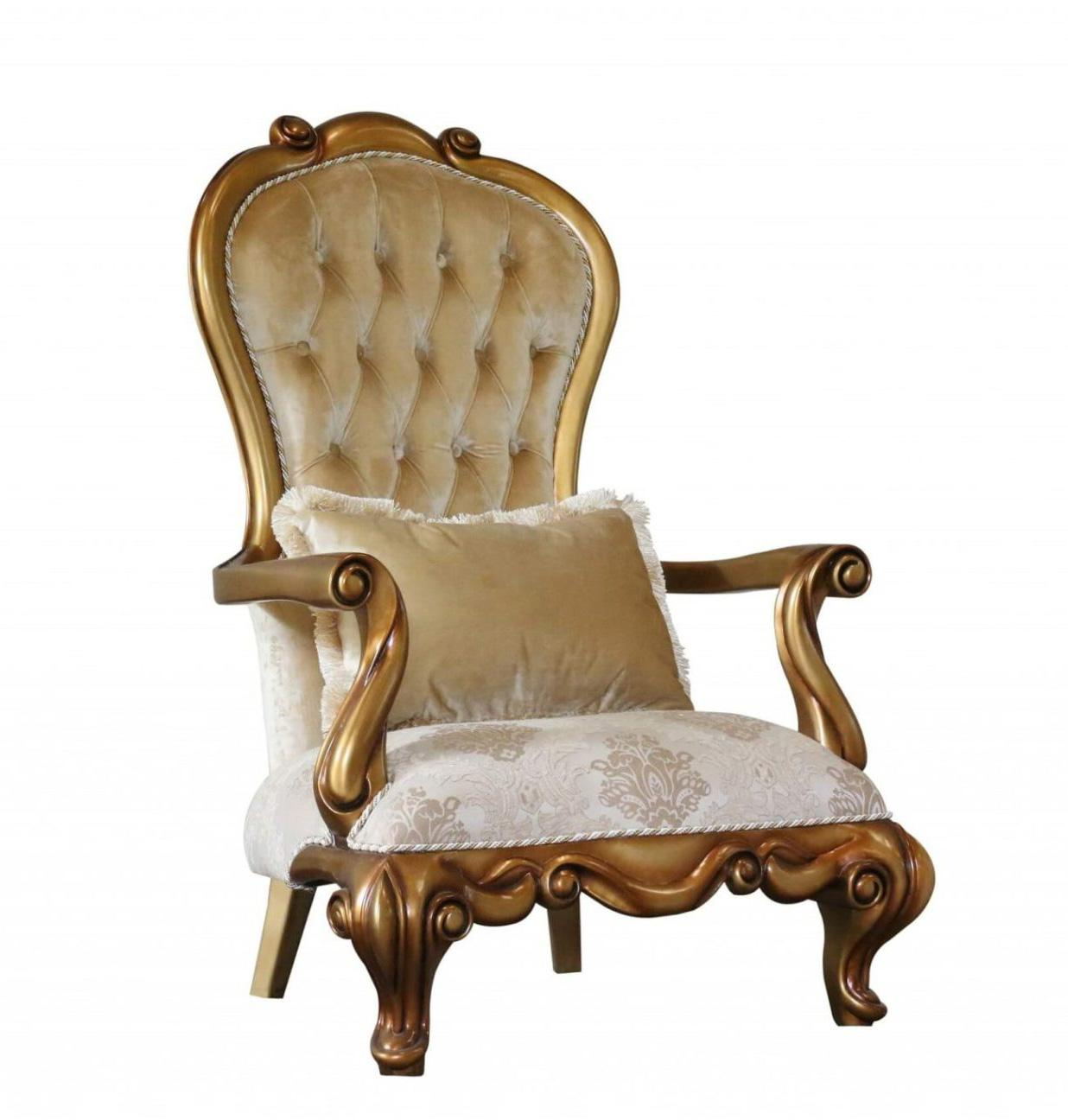 Classic  Traditional Bronze  Gold Wood  Solid Hardwood and Fabric Arm Chair EUROPEAN FURNITURE 41951-C