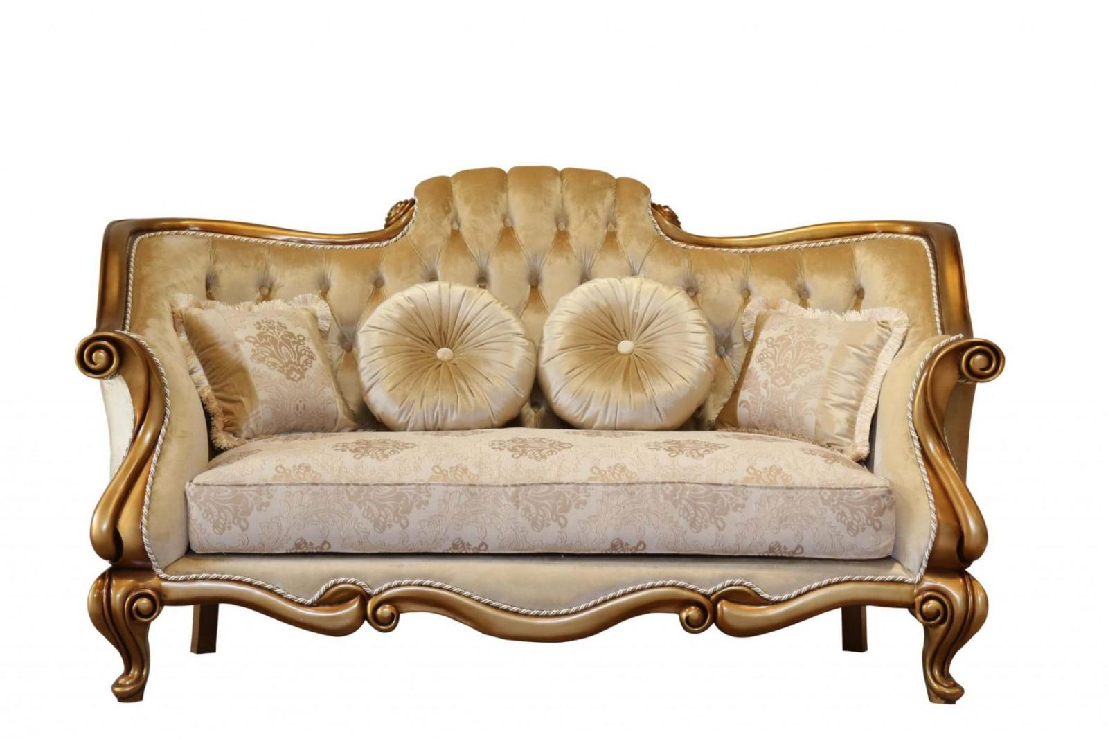 Classic  Traditional Bronze  Gold Wood  Solid Hardwood and Fabric Loveseat EUROPEAN FURNITURE 41951-L