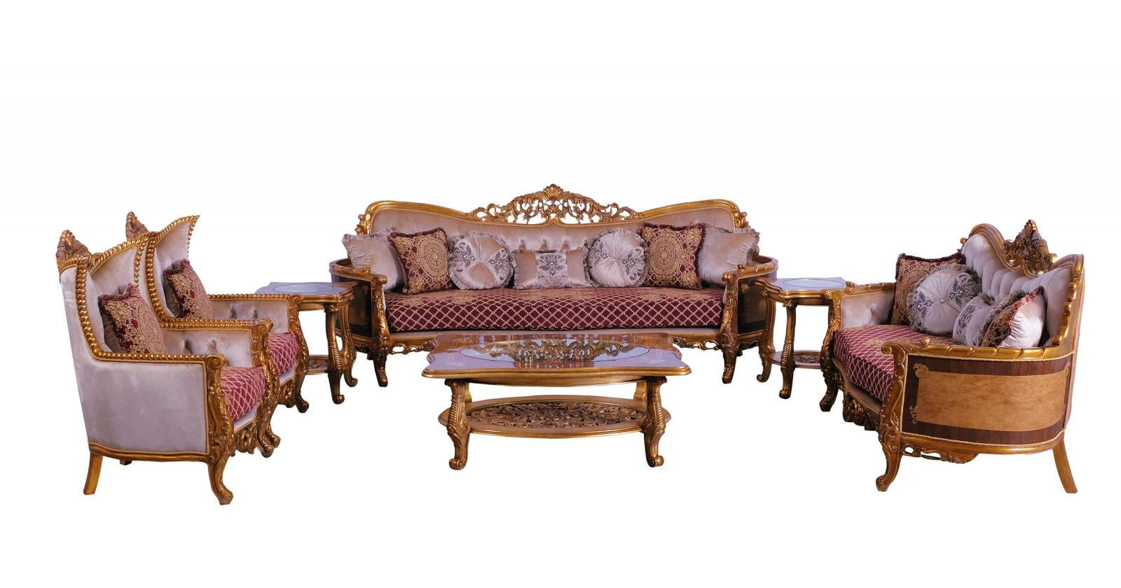Classic  Traditional Gold  Red Wood  Solid Hardwood and Fabric Sofa Set EUROPEAN FURNITURE 31058-S-Set-4