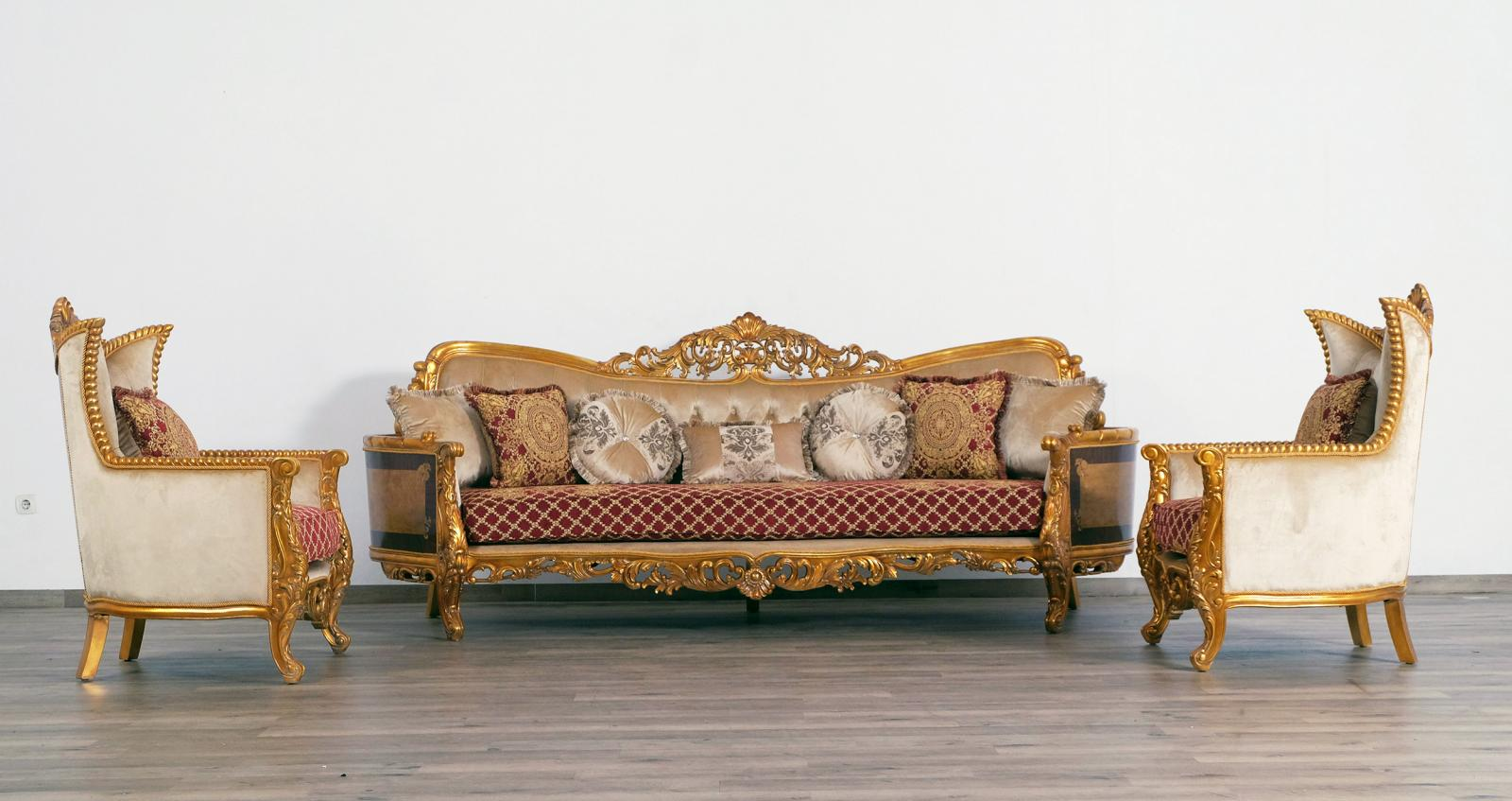 Classic  Traditional Gold  Red Wood  Solid Hardwood and Fabric Sofa Set EUROPEAN FURNITURE 31058-S-Set-3