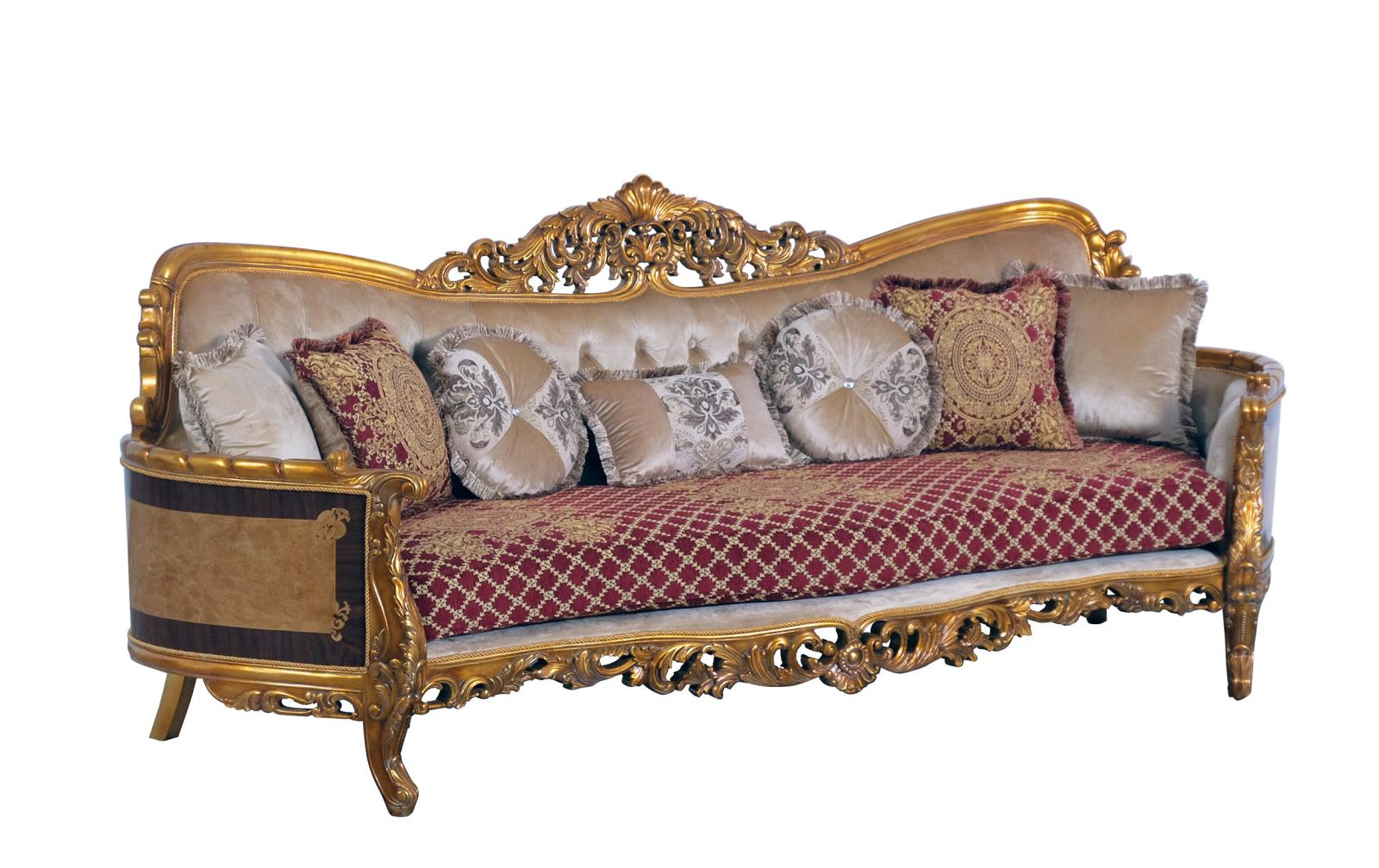 Classic  Traditional Gold  Red Wood  Solid Hardwood and Fabric Sofa EUROPEAN FURNITURE 31058-S