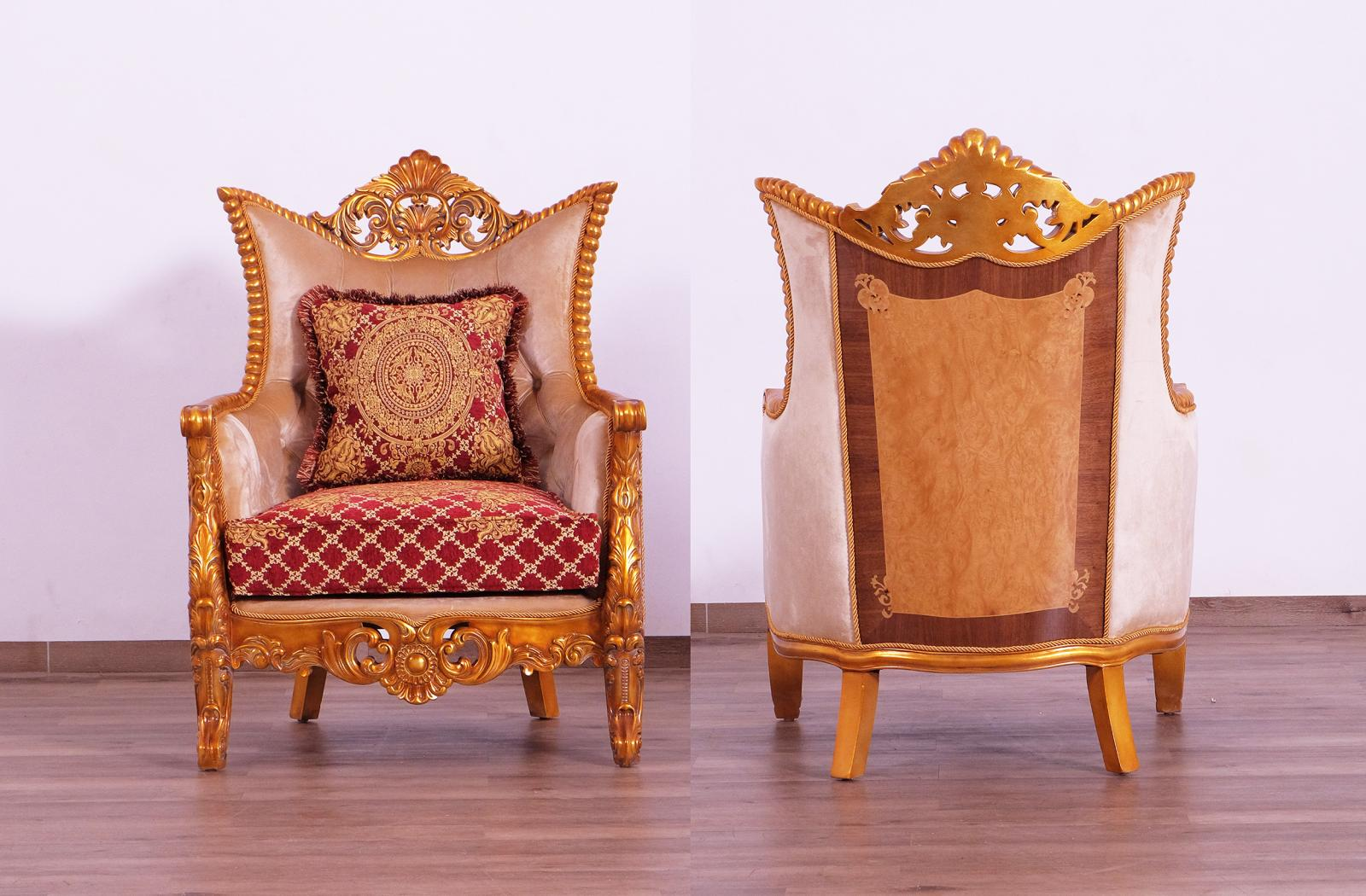 Classic  Traditional Gold  Red Wood  Solid Hardwood and Fabric Arm Chair Set EUROPEAN FURNITURE  31058-C-Set-2