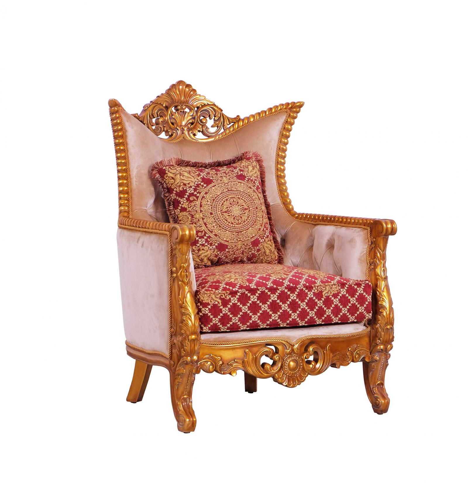 Classic  Traditional Gold  Red Wood  Solid Hardwood and Fabric Arm Chair EUROPEAN FURNITURE  31058-C