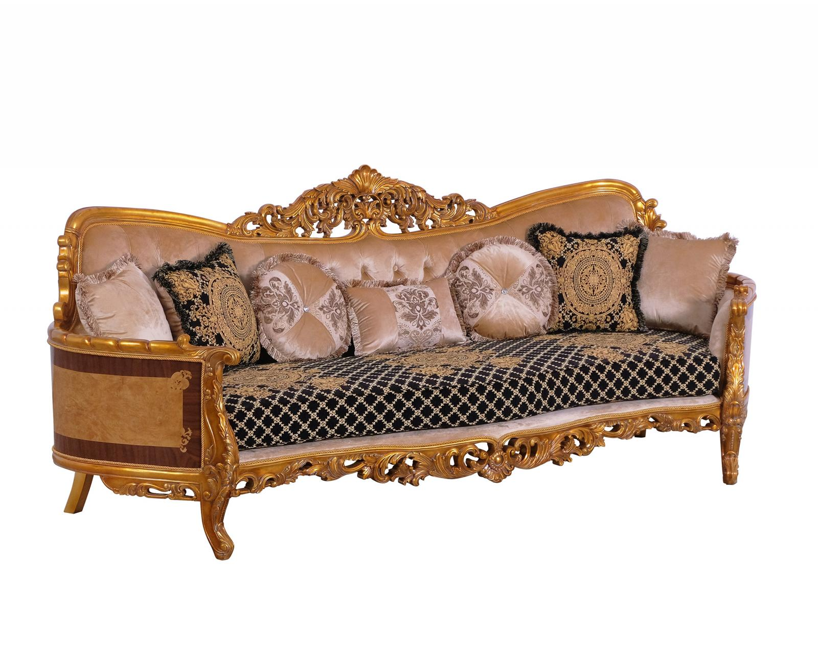Classic  Traditional Black  Gold Wood  Solid Hardwood and Fabric Sofa EUROPEAN FURNITURE 31052-S