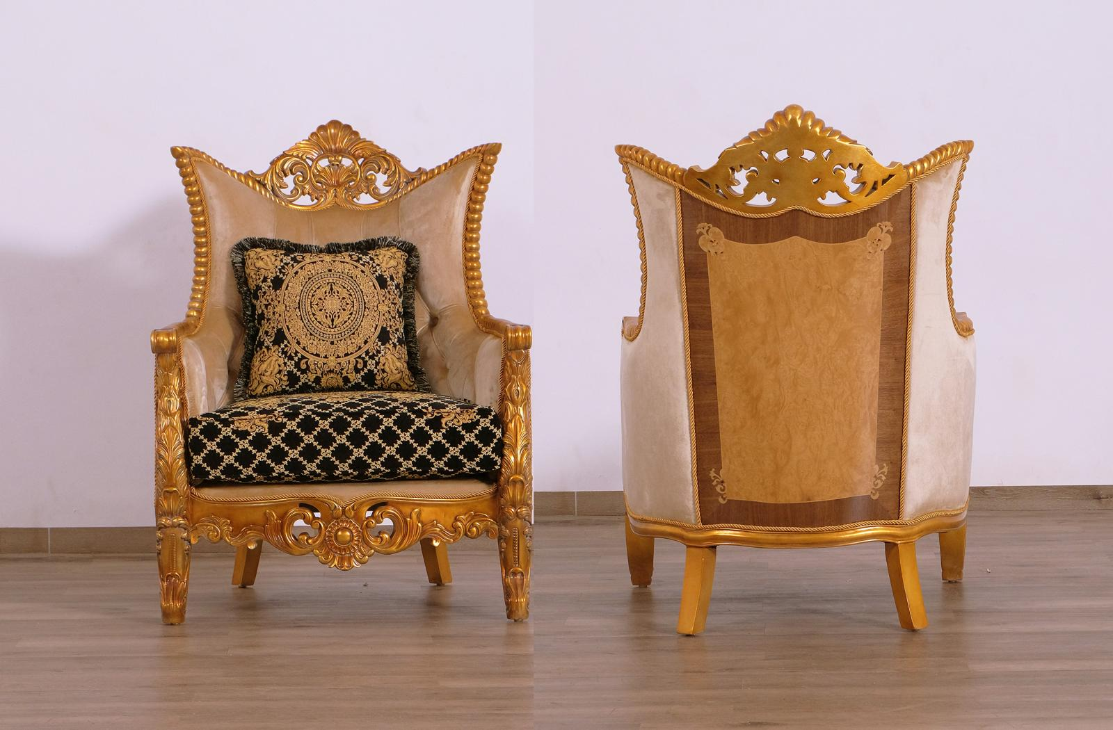 Classic  Traditional Black  Gold Wood  Solid Hardwood and Fabric Arm Chair Set EUROPEAN FURNITURE 31052-C-Set-2
