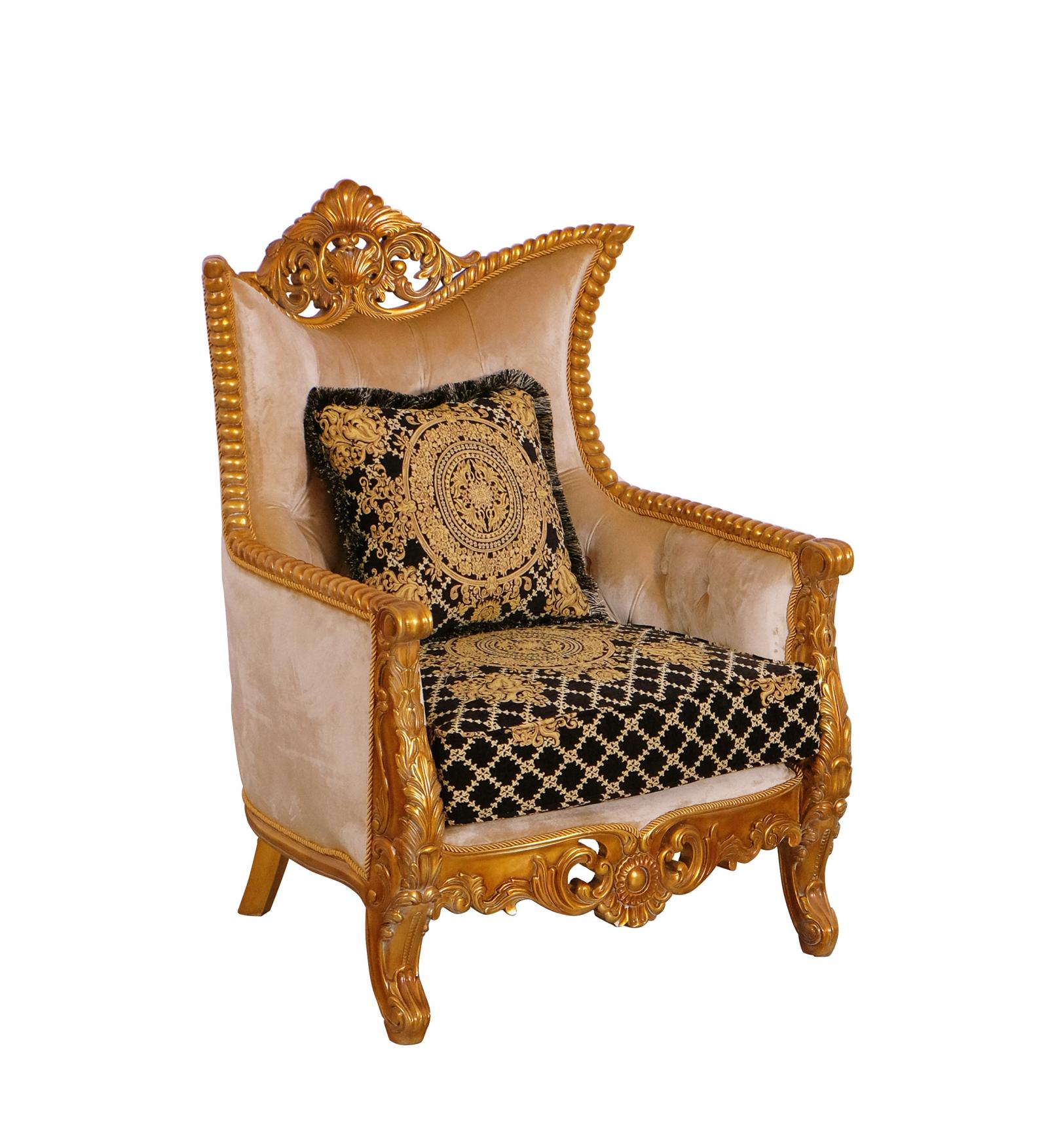 Classic  Traditional Black  Gold Wood  Solid Hardwood and Fabric Arm Chair EUROPEAN FURNITURE 31052-C