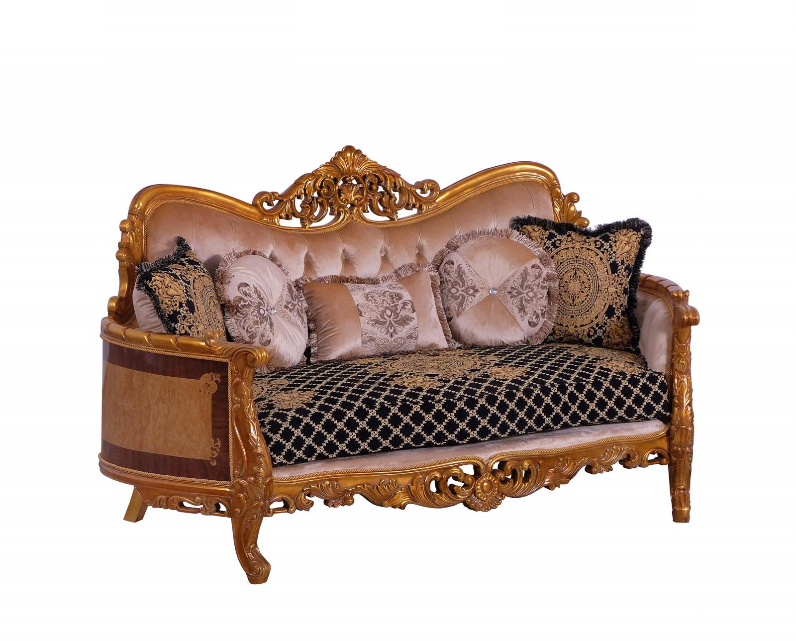 Classic  Traditional Black  Gold Wood  Solid Hardwood and Fabric Loveseat EUROPEAN FURNITURE 31052-L