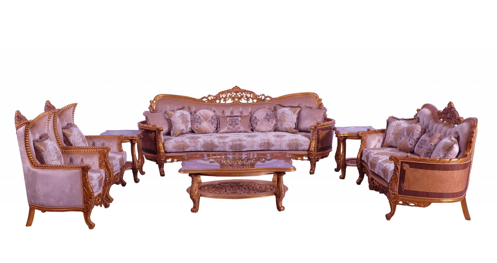 Classic  Traditional Gold  Sand Wood  Solid Hardwood and Fabric Sofa Set EUROPEAN FURNITURE 31056-S-Set-4
