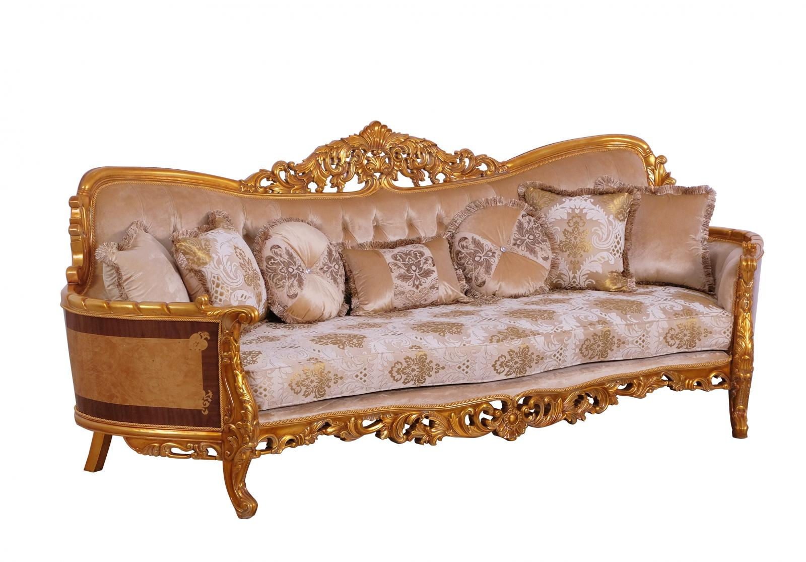 Classic  Traditional Gold  Sand Wood  Solid Hardwood and Fabric Sofa EUROPEAN FURNITURE 31056-S
