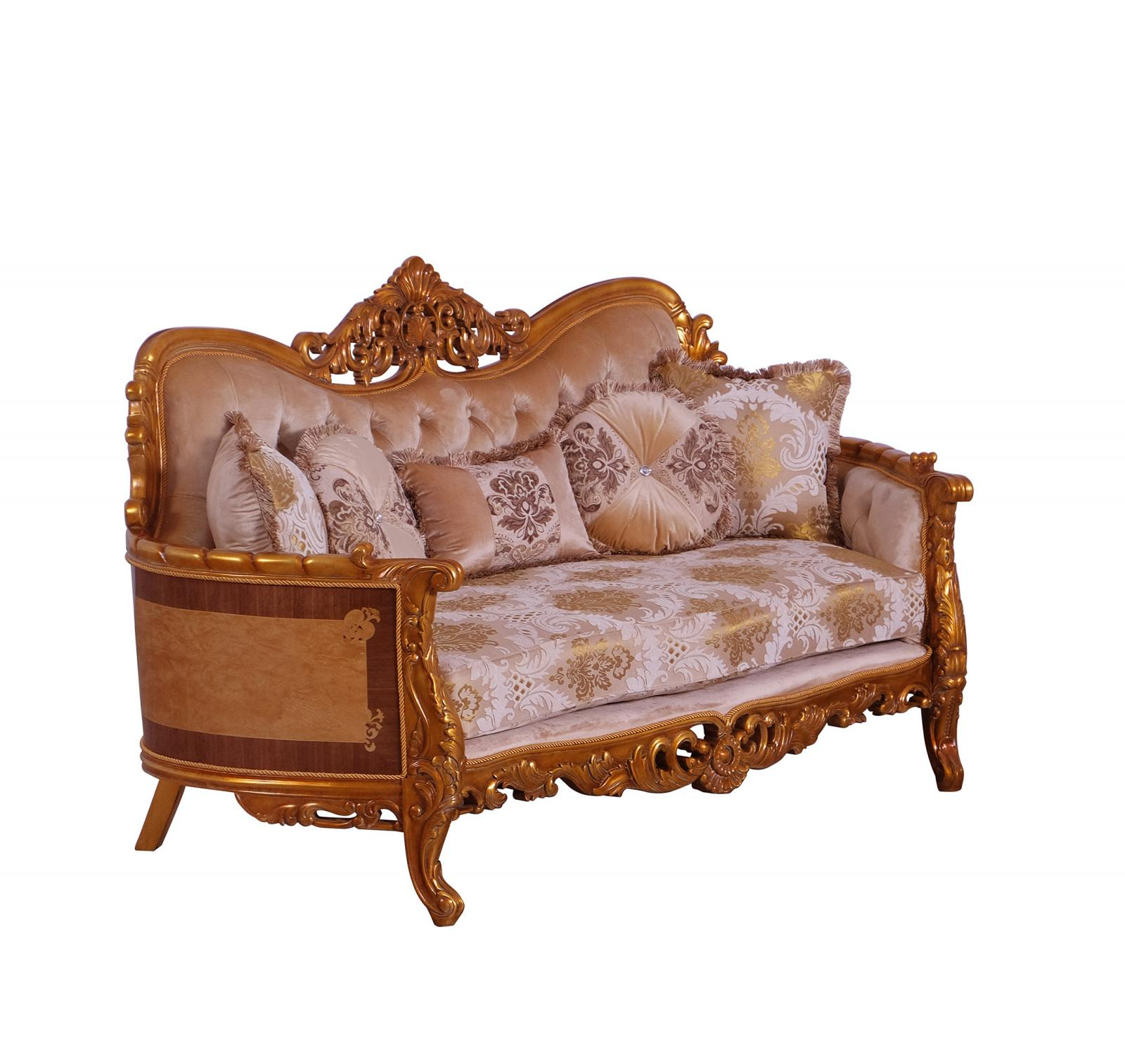 Classic  Traditional Gold  Sand Wood  Solid Hardwood and Fabric Loveseat EUROPEAN FURNITURE 31056-L