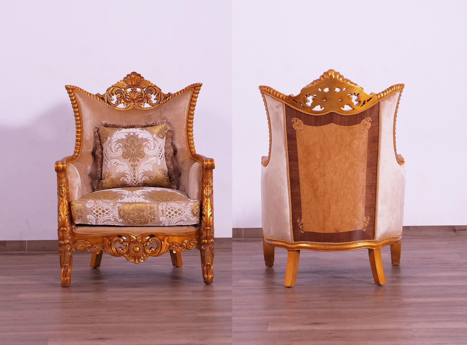 Classic  Traditional Gold  Sand Wood  Solid Hardwood and Fabric Arm Chair EUROPEAN FURNITURE 31056-C-Set-2