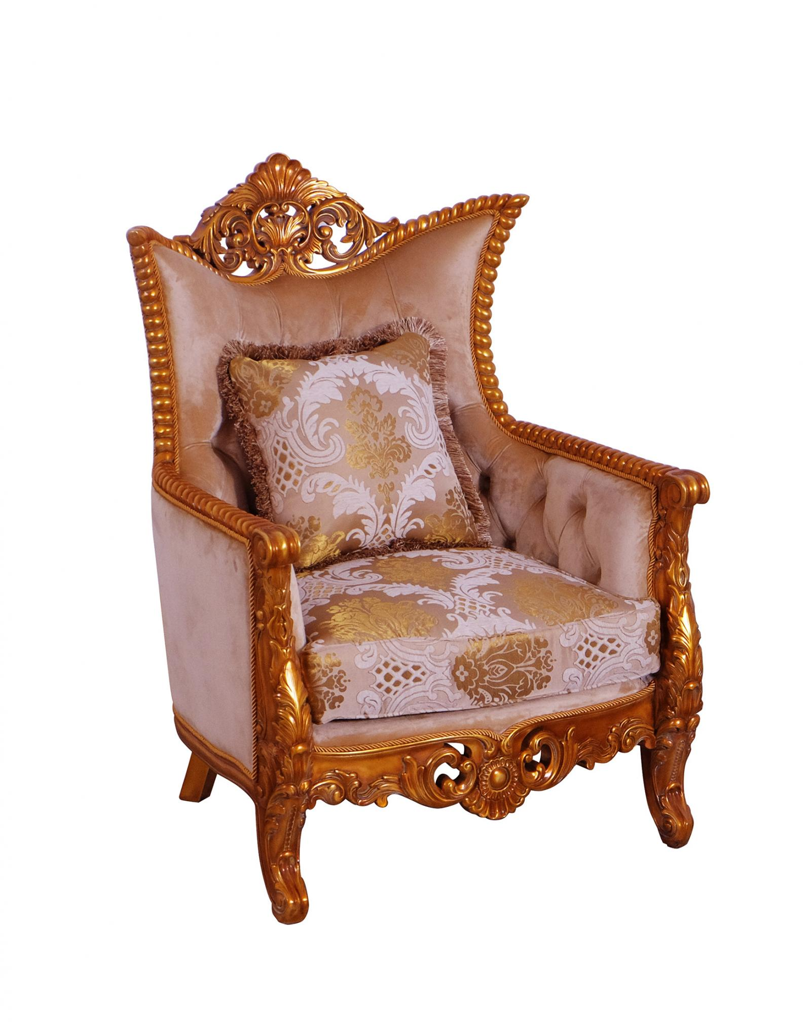 Classic  Traditional Gold  Sand Wood  Solid Hardwood and Fabric Arm Chair EUROPEAN FURNITURE 31056-C
