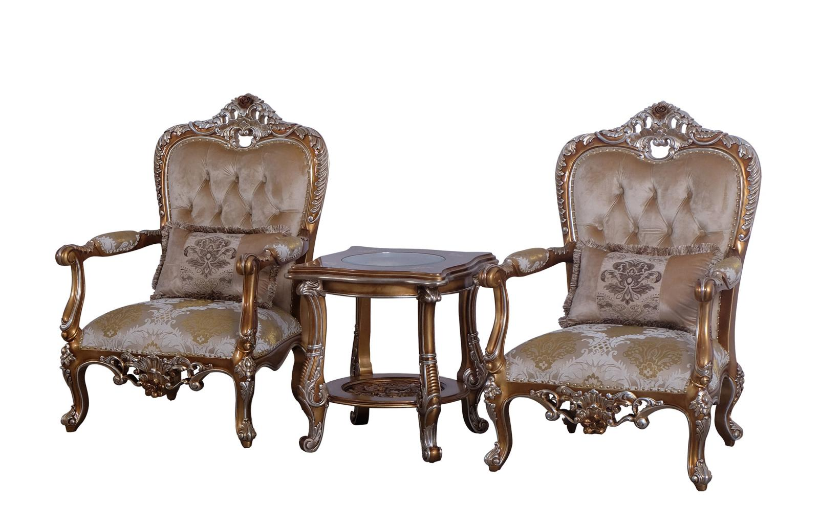 Classic  Traditional Gold  Sand Wood  Solid Hardwood and Fabric Arm Chair Set EUROPEAN FURNITURE 35550-C-Set-2