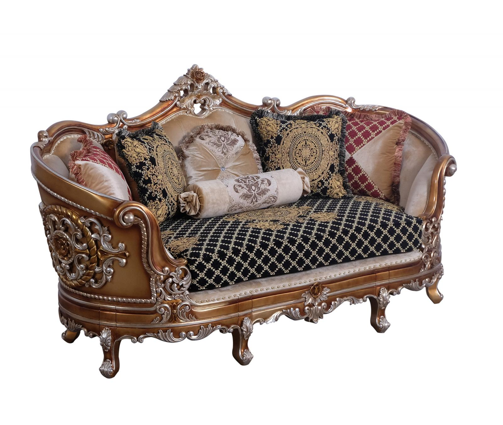 Classic  Traditional Black  Gold  Sand Wood  Solid Hardwood and Fabric Loveseat EUROPEAN FURNITURE 35552-L