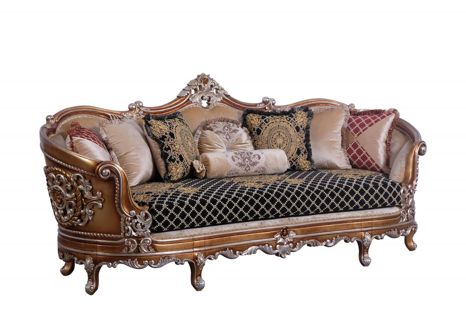 Classic  Traditional Black  Gold  Sand Wood  Solid Hardwood and Fabric Sofa EUROPEAN FURNITURE 35552-S