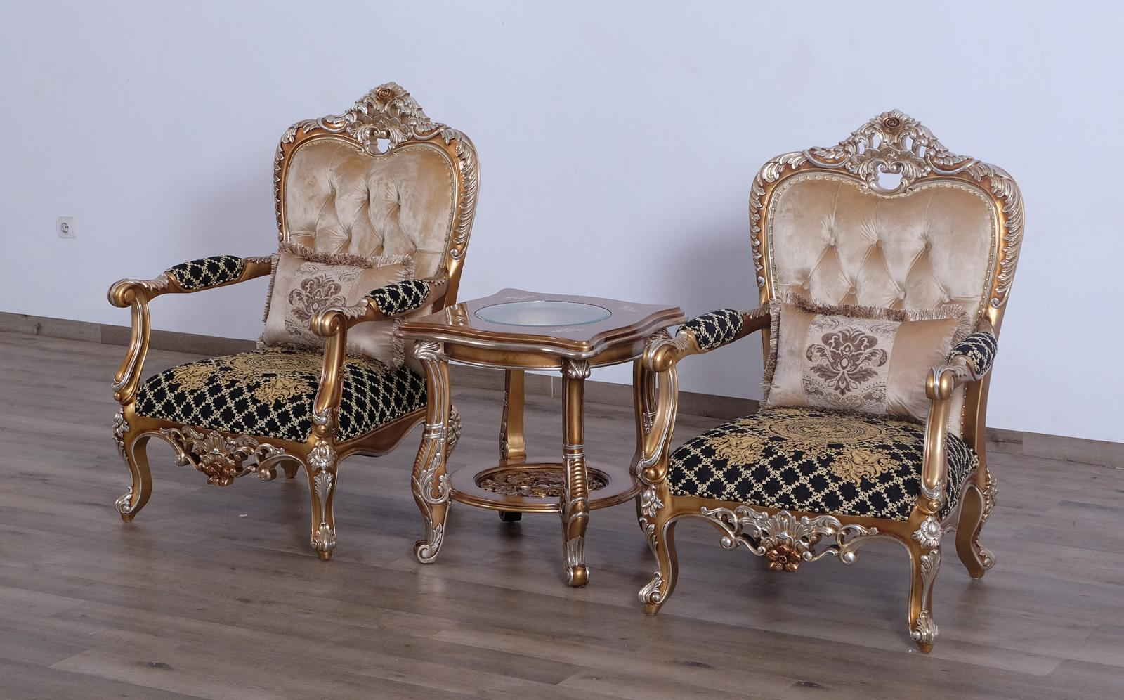 Classic  Traditional Black  Gold  Sand Wood  Solid Hardwood and Fabric Arm Chair Set EUROPEAN FURNITURE 35552-C-Set-2