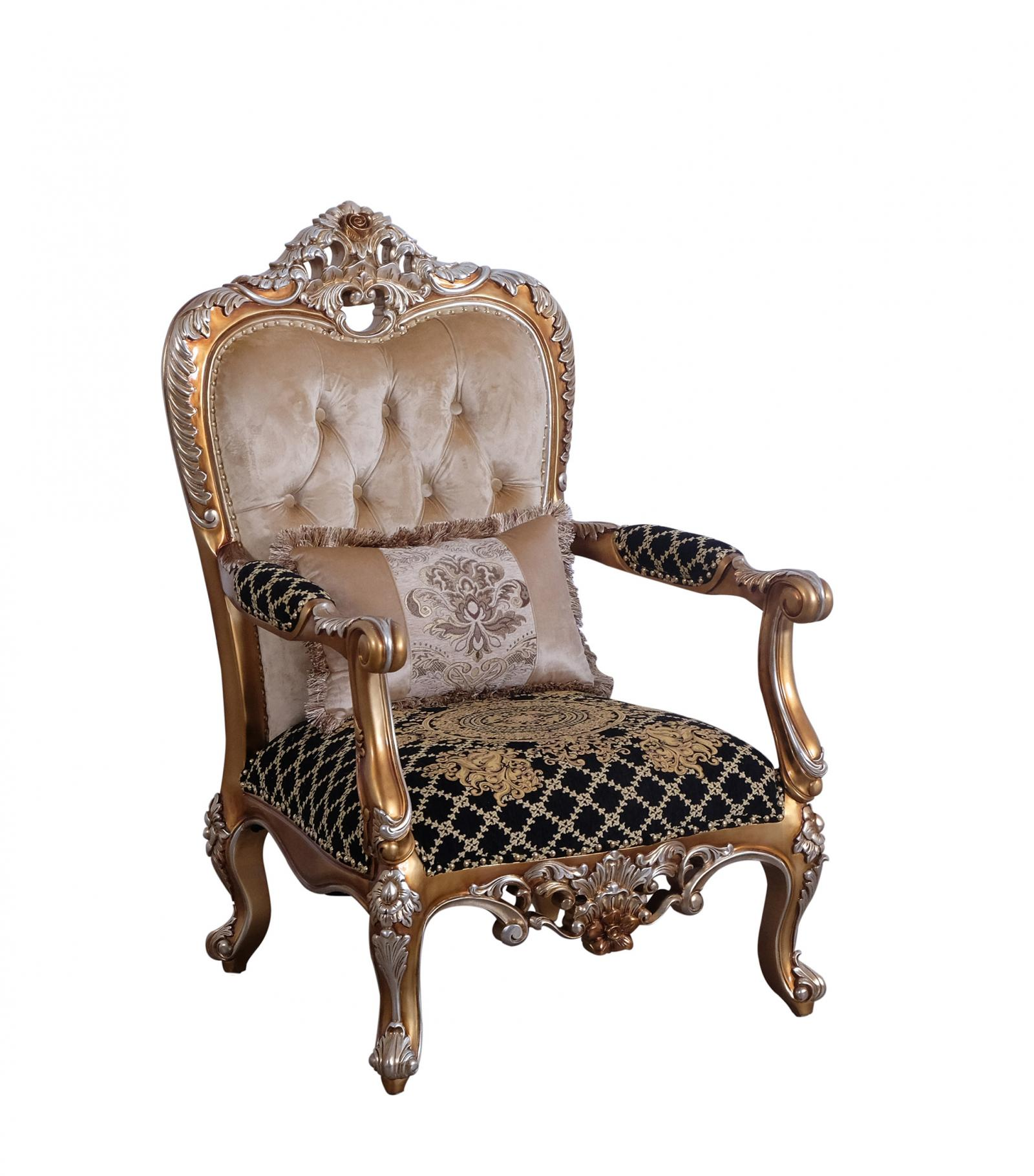 Classic  Traditional Black  Gold  Sand Wood  Solid Hardwood and Fabric Arm Chair EUROPEAN FURNITURE 35552-C