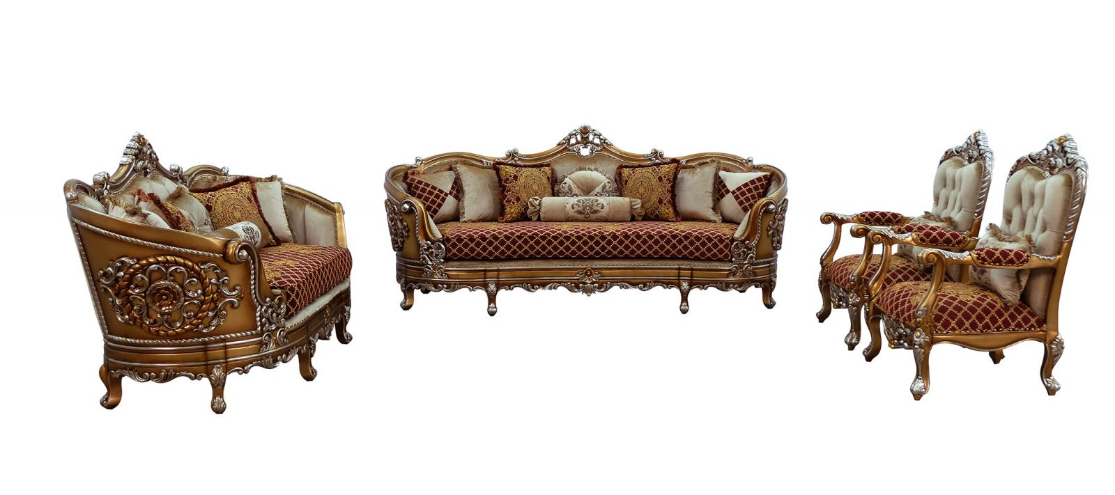 Classic  Traditional Gold  Sand   Red Wood  Solid Hardwood and Fabric Sofa Set EUROPEAN FURNITURE 35554-S-Set-4