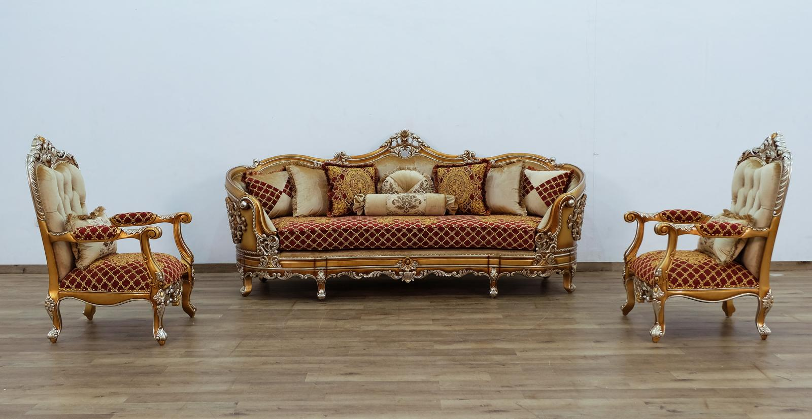 Classic  Traditional Gold  Sand   Red Wood  Solid Hardwood and Fabric Sofa Set EUROPEAN FURNITURE 35554-S-Set-3