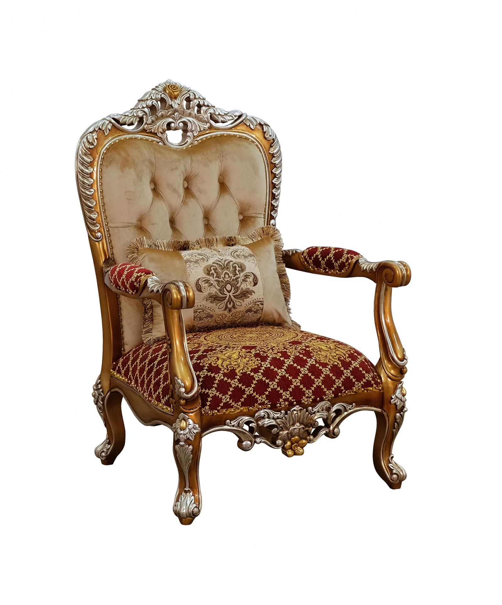 Classic  Traditional Gold  Sand   Red Wood  Solid Hardwood and Fabric Arm Chair EUROPEAN FURNITURE 35554-C