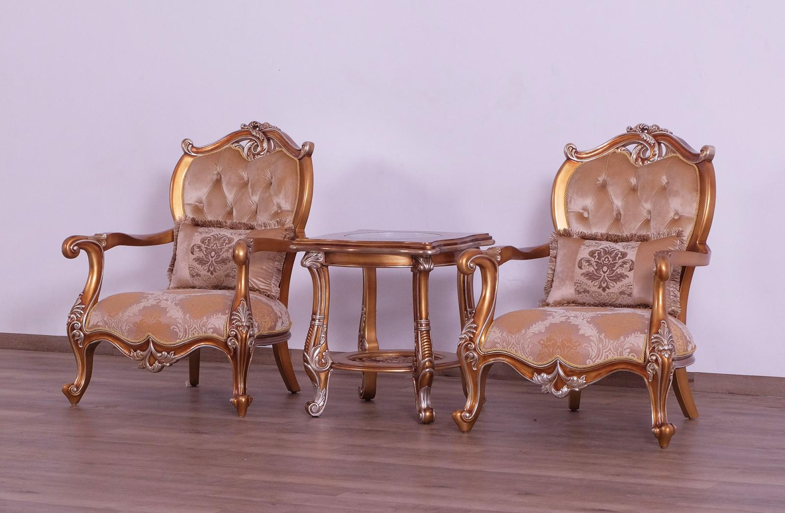 Classic  Traditional Gold  Sand Wood  Solid Hardwood and Fabric Arm Chair Set EUROPEAN FURNITURE 37057-C-Set-2
