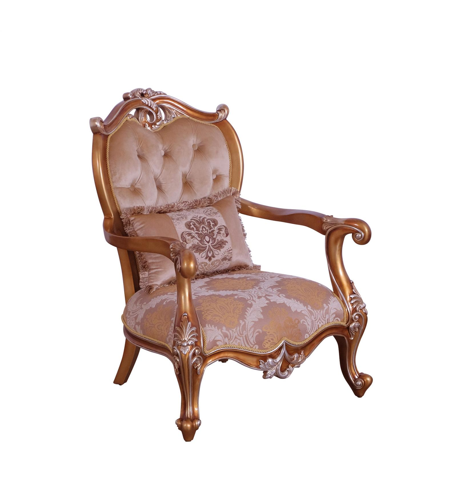 Classic  Traditional Gold  Sand Wood  Solid Hardwood and Fabric Arm Chair EUROPEAN FURNITURE 37057-C
