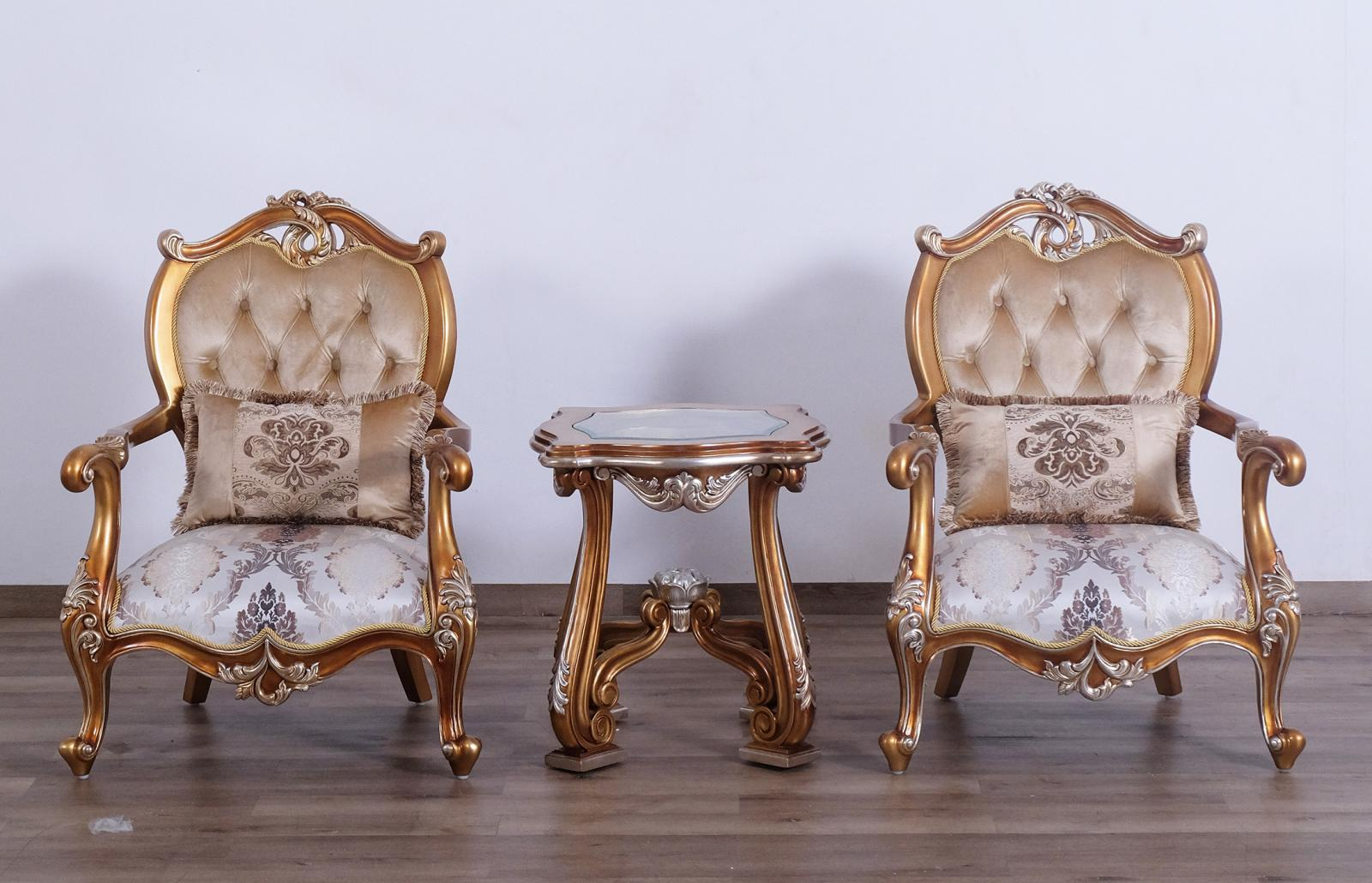 Classic  Traditional Black  Gold  Sand Wood  Solid Hardwood and Fabric Arm Chair Set EUROPEAN FURNITURE 37059-C-Set-2
