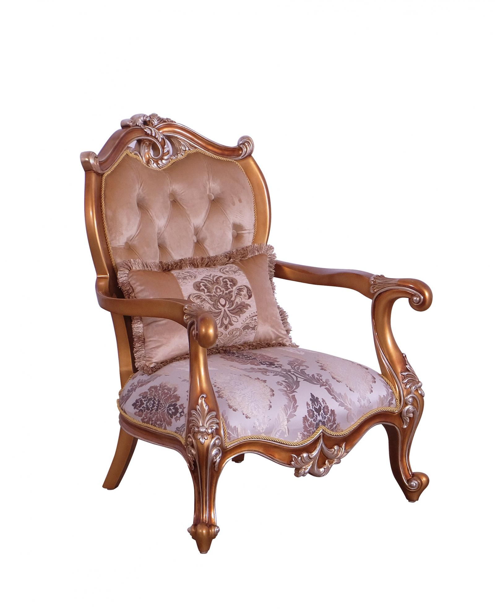 Classic  Traditional Black  Gold  Sand Wood  Solid Hardwood and Fabric Arm Chair EUROPEAN FURNITURE 37059-C