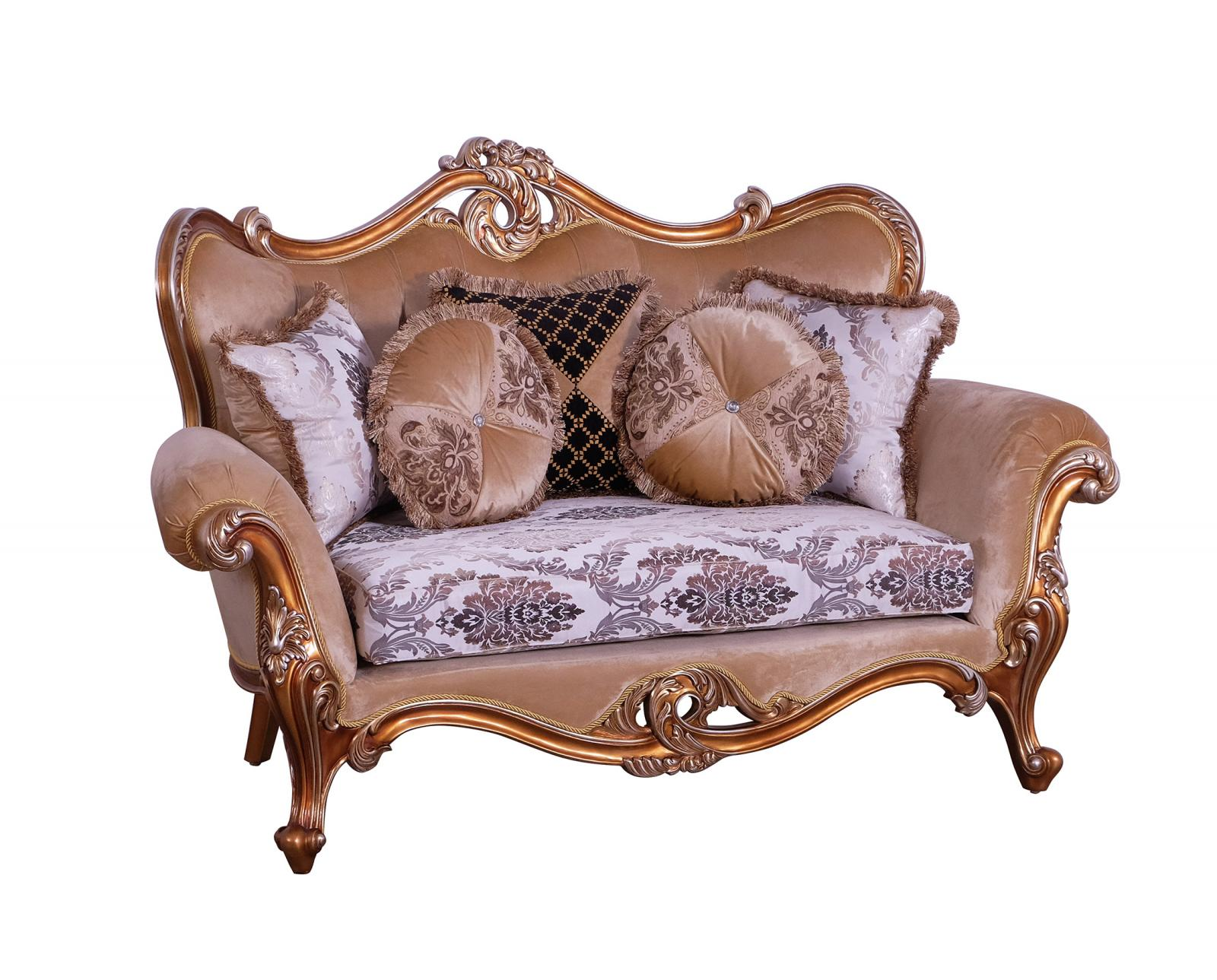 Classic  Traditional Black  Gold  Sand Wood  Solid Hardwood and Fabric Loveseat EUROPEAN FURNITURE 37059-L