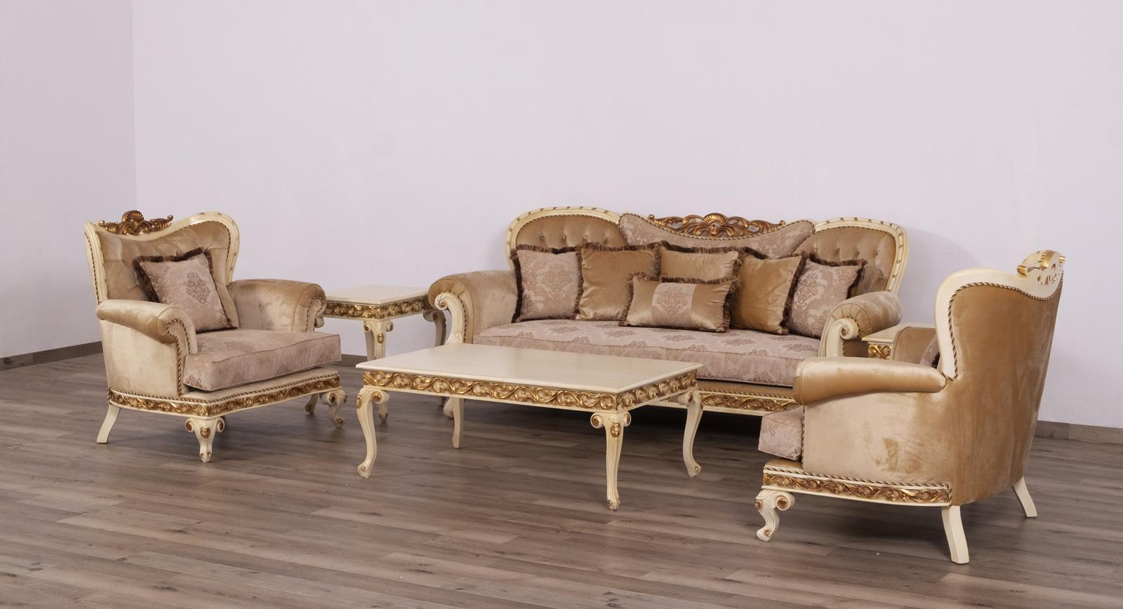 Classic  Traditional Gold  Sand   Beige Wood  Solid Hardwood and Fabric Sofa Set EUROPEAN FURNITURE 40017-S-Set-3