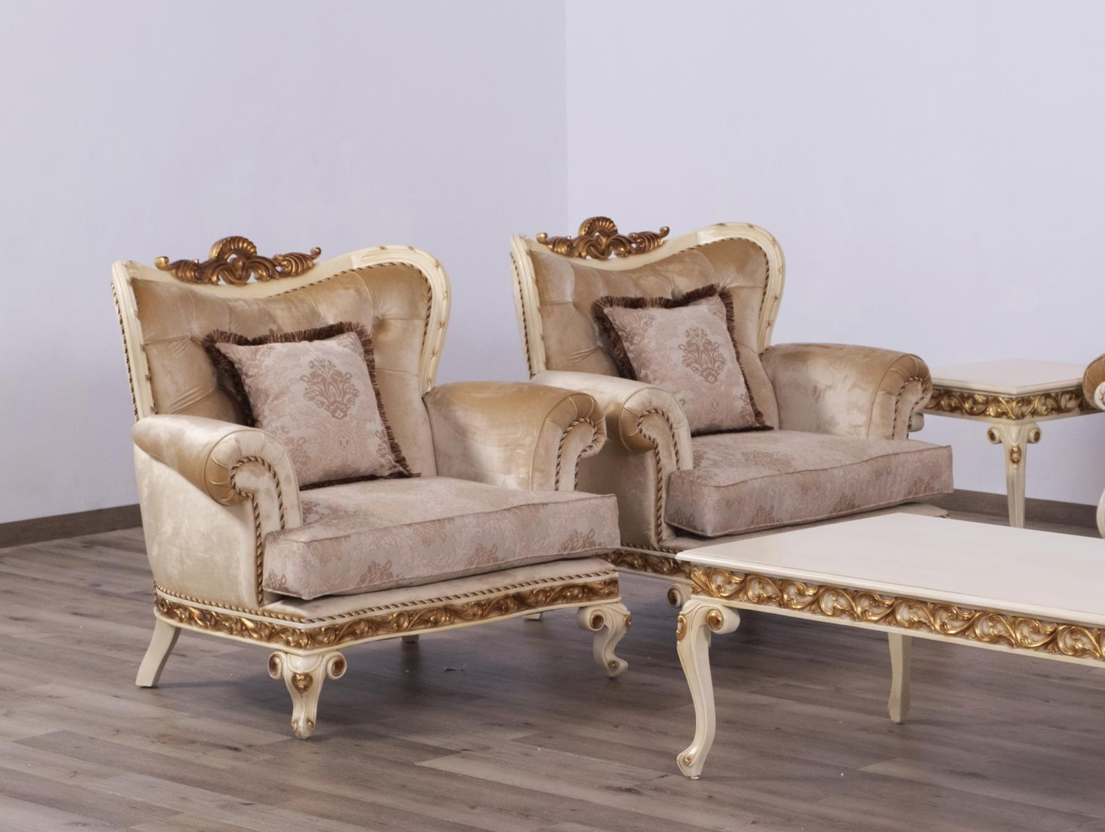 Classic  Traditional Gold  Sand   Beige Wood  Solid Hardwood and Fabric Arm Chair Set EUROPEAN FURNITURE 40017-C-Set-2