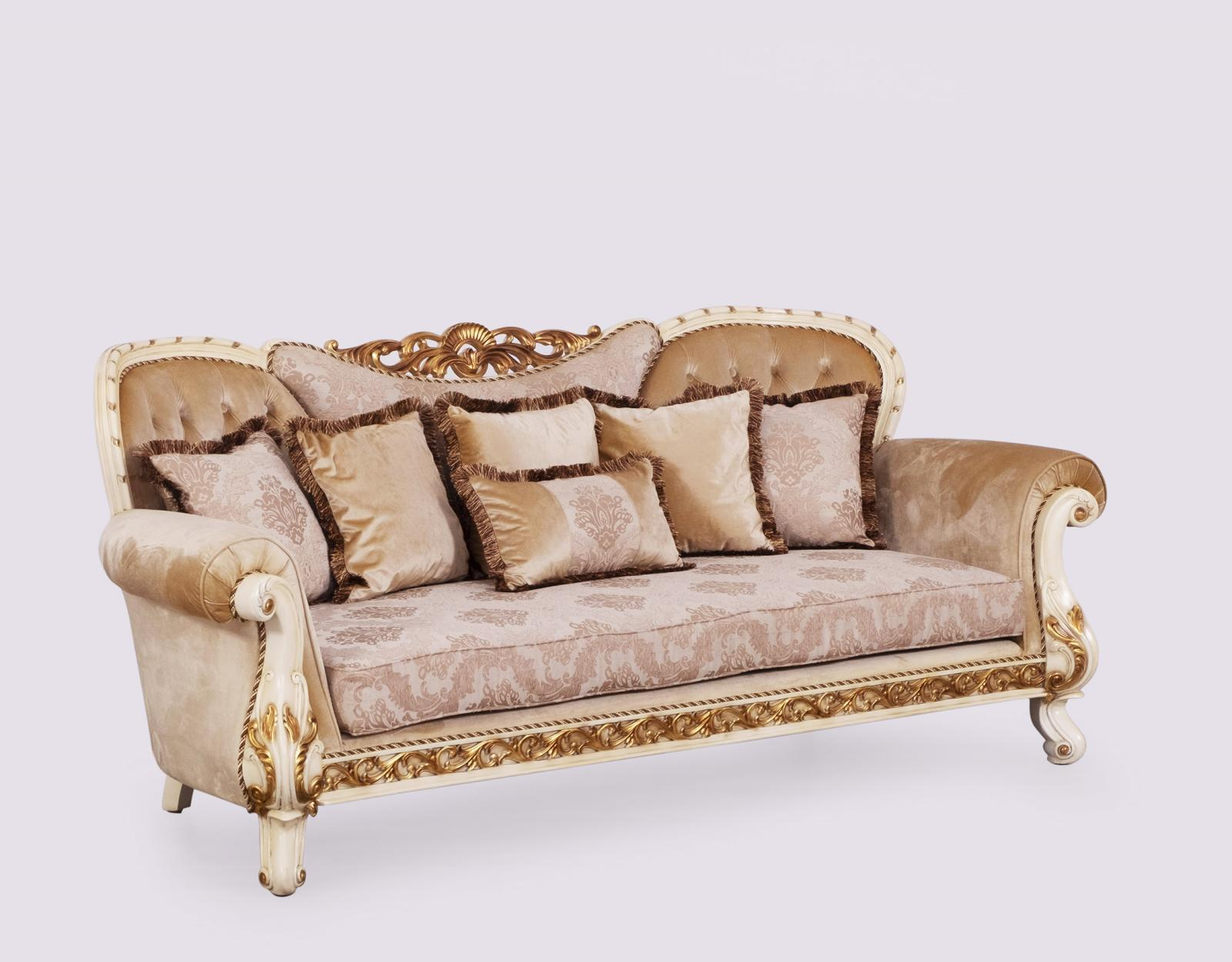 Classic  Traditional Gold  Sand   Beige Wood  Solid Hardwood and Fabric Sofa EUROPEAN FURNITURE 40017-S
