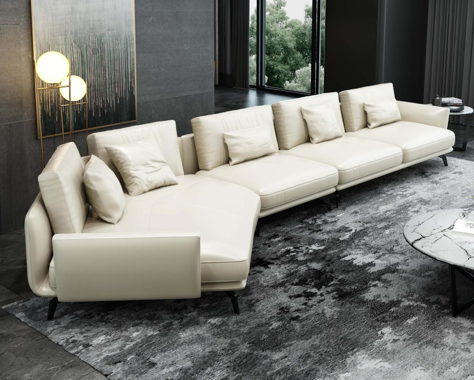 Modern  Vintage Off-White Wood  Genuine leather  Solid Hardwood and Italian Leather Sectional Sofa EUROPEAN FURNITURE EF-54436L-3LHC