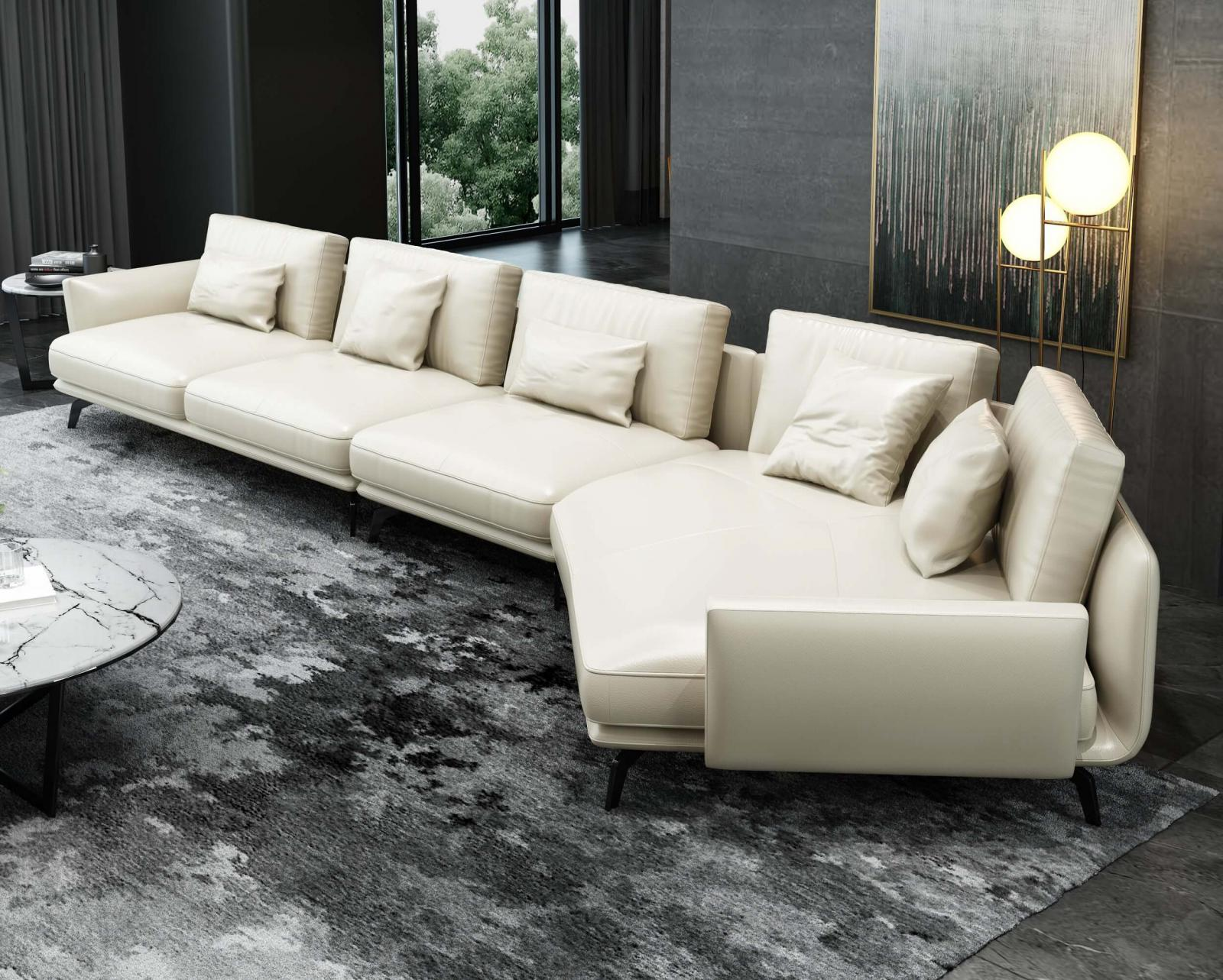 Modern  Vintage Off-White Wood  Genuine leather  Solid Hardwood and Italian Leather Sectional Sofa EUROPEAN FURNITURE EF-54437R-3RHC
