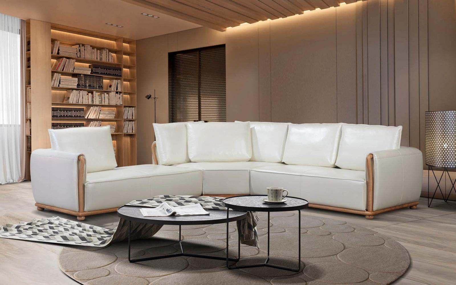 Modern  Vintage Off-White Wood  Genuine leather  Solid Hardwood and Italian Leather Sectional Sofa EUROPEAN FURNITURE EF-26661