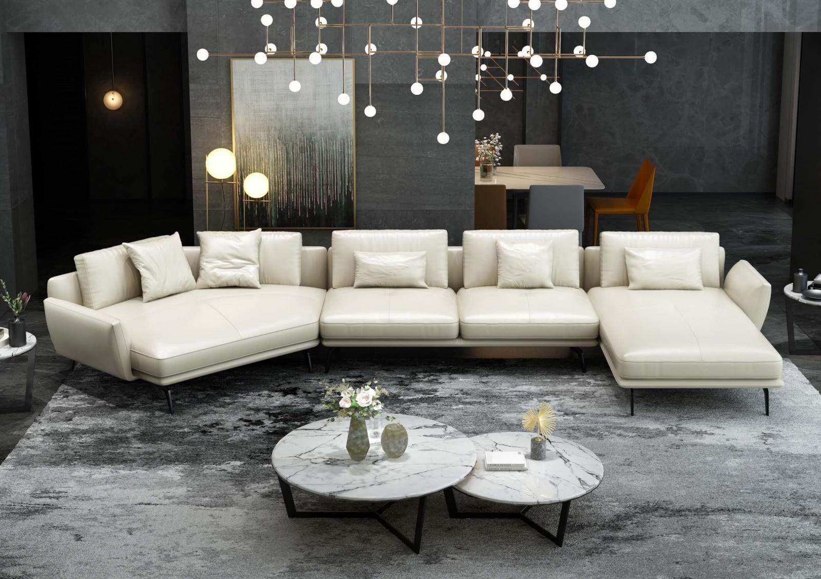 Modern  Vintage White Wood  Genuine leather  Solid Hardwood and Italian Leather Sectional Sofa EUROPEAN FURNITURE EF-83543R-3RHF