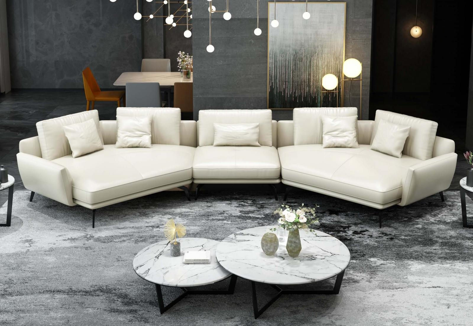Modern  Vintage White  Off-White Wood  Genuine leather  Solid Hardwood and Italian Leather Sectional Sofa EUROPEAN FURNITURE EF-65556-5S