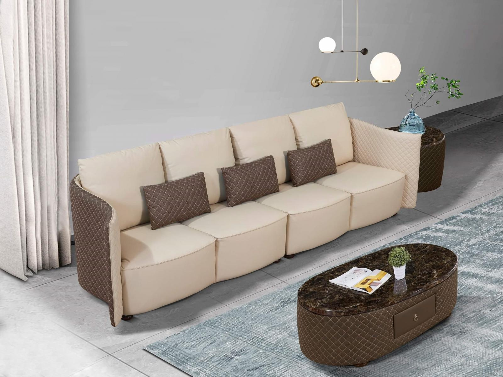 Contemporary  Modern Taupe  Grey Wood  Genuine leather  Solid Hardwood and Italian Leather Sofa EUROPEAN FURNITURE EF-52550-4S