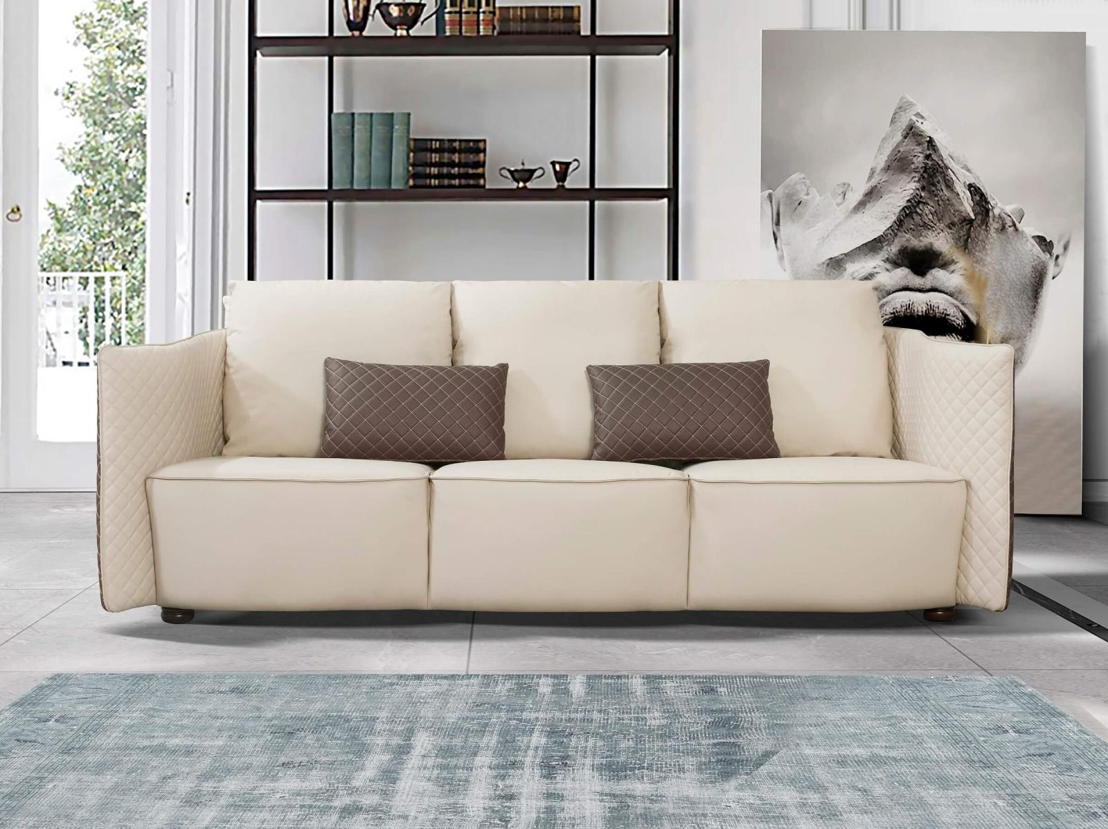 Contemporary  Modern Taupe  Light Grey Wood  Genuine leather  Solid Hardwood and Italian Leather Sofa EUROPEAN FURNITURE EF-52550-S