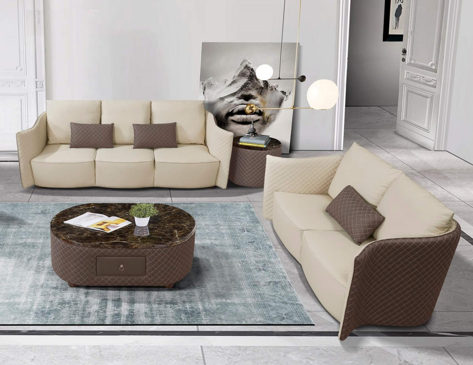 Contemporary  Modern Taupe  Light Grey Wood  Genuine leather  Solid Hardwood  Marble and Italian Leather Coffee Table Set EUROPEAN FURNITURE EF-52550-CT-Set-2