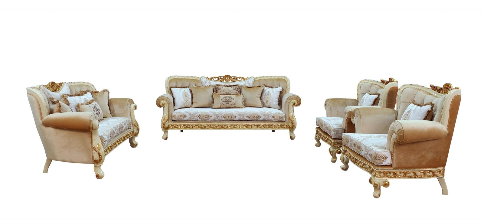 Classic  Traditional Gold  Sand  Off-White Wood  Solid Hardwood and Fabric Sofa Set EUROPEAN FURNITURE 40015-S-Set-4