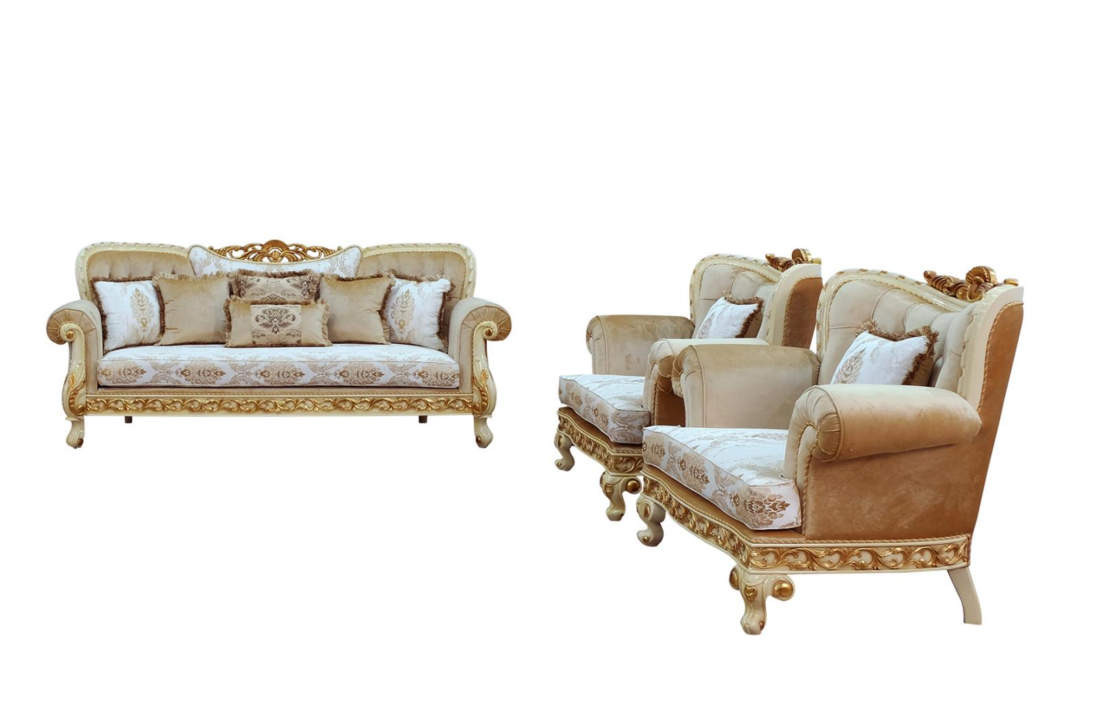 Classic  Traditional Gold  Sand  Off-White Wood  Solid Hardwood and Fabric Sofa Set EUROPEAN FURNITURE 40015-S-Set-3